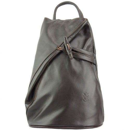 Backpack purse and shoulder bag in genuine leather Chiara Colour Dark Brown for women