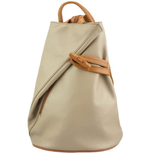 Backpack purse and shoulder bag in genuine leather Chiara Colour light taupe tan for women