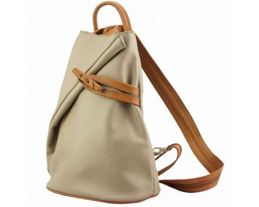 light taupe tan backpack in genuine leather Naamane small size for women