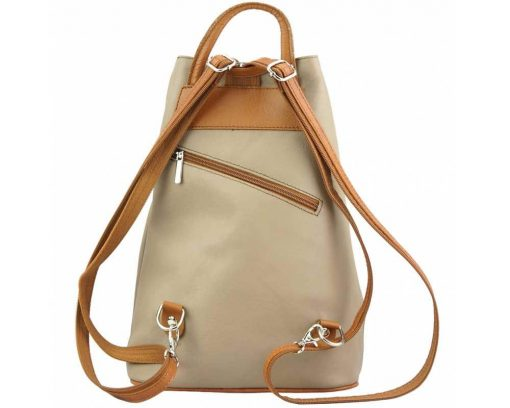 beige tan backpack in genuine leather Naamane small size for women
