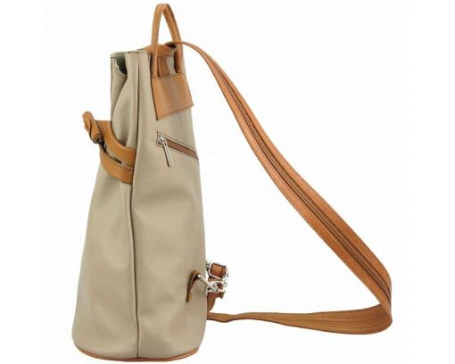 beige tan backpack in leather Naamane small size for women