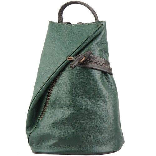 Backpack purse and shoulder bag in genuine leather Chiara Colour Dark Green Brown for women
