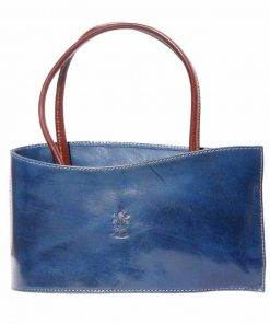 dark blue brown bag in natural leather from italy
