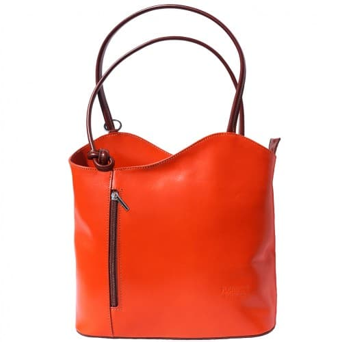 Convertible backpack and shoulder bag in genuine leather Silvia Colour orange brown for women