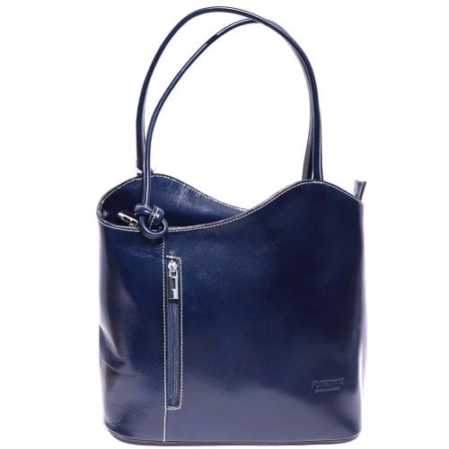 Convertible backpack and shoulder bag in genuine leather Silvia Colour dark blue for women