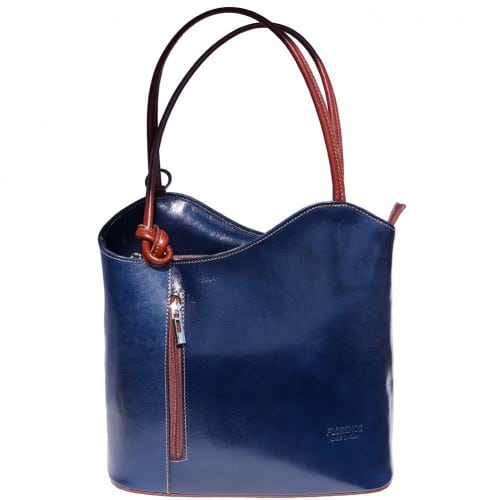 Convertible backpack and shoulder bag in genuine leather Silvia Colour dark blue brown for women