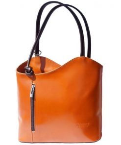 Convertible backpack and shoulder bag in genuine leather Silvia Colour orange brown photo for women