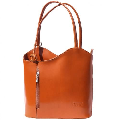 Convertible backpack and shoulder bag in genuine leather Silvia Colour tan for women