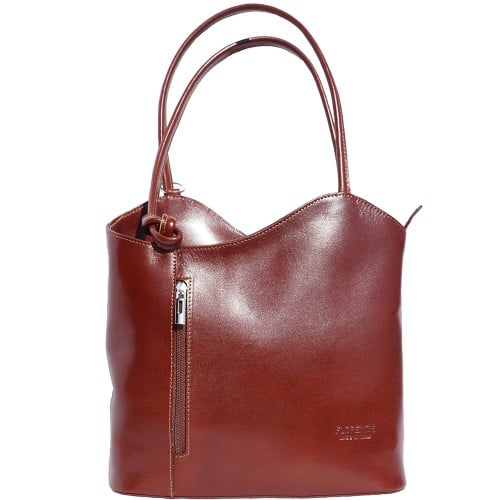 Convertible backpack and shoulder bag in genuine leather Silvia Colour brown for women