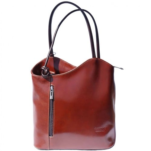 Convertible backpack and shoulder bag in genuine leather Silvia Colour brown dark brown for women