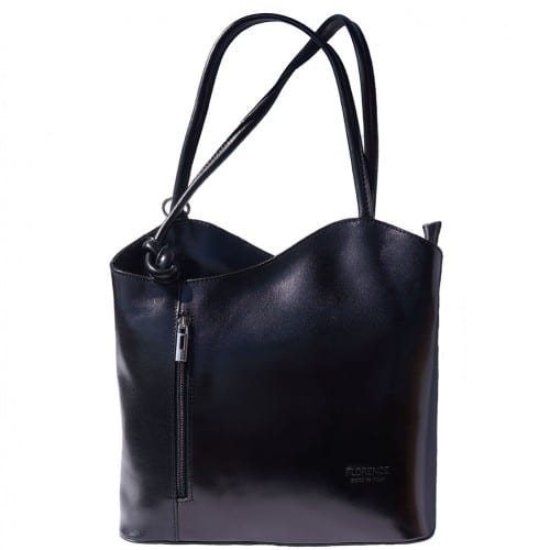 Convertible backpack and shoulder bag in genuine leather Silvia Colour black for women