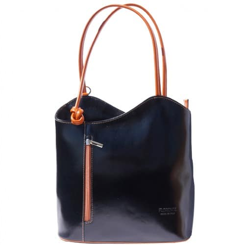 Convertible backpack and shoulder bag in genuine leather Silvia Colour black tan for women