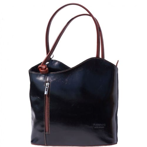 Convertible backpack and shoulder bag in genuine leather Silvia Colour black brown for women