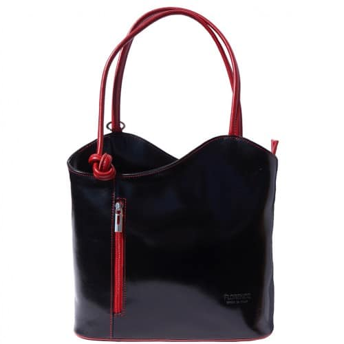 Convertible backpack and shoulder bag in genuine leather Silvia Colour black red for women