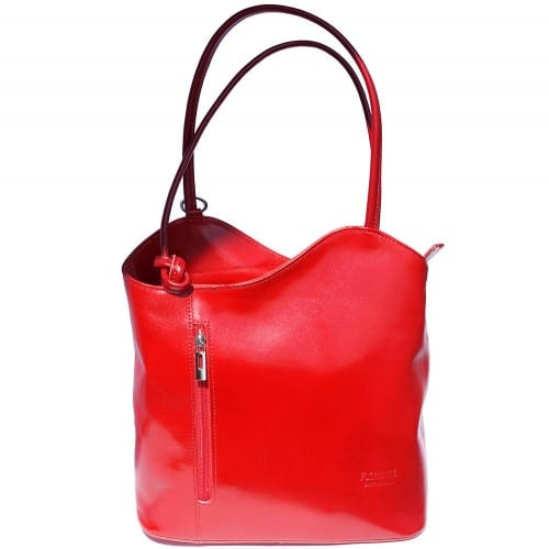 Convertible backpack and shoulder bag in genuine leather Silvia Colour light red for women