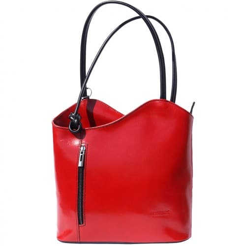 Convertible backpack and shoulder bag in genuine leather Silvia Colour red black for women