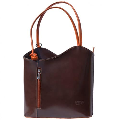 Convertible backpack and shoulder bag in genuine leather Silvia Colour dark Brown tan for women
