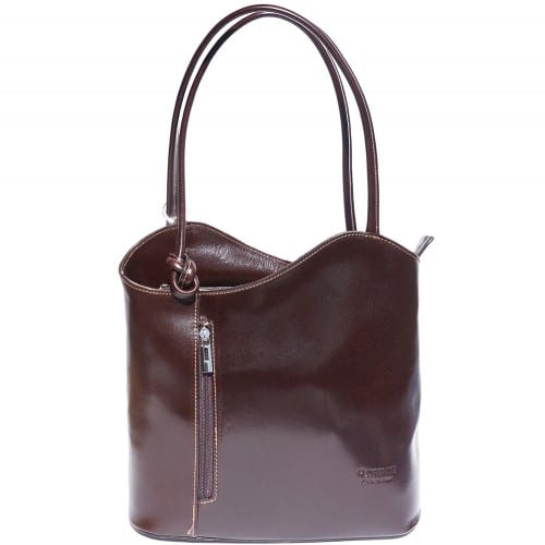 Convertible backpack and shoulder bag in genuine leather Silvia Colour dark Brown for women