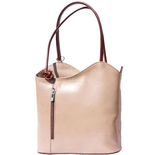 Convertible backpack and shoulder bag in genuine leather Silvia Colour light taupe Brown for women