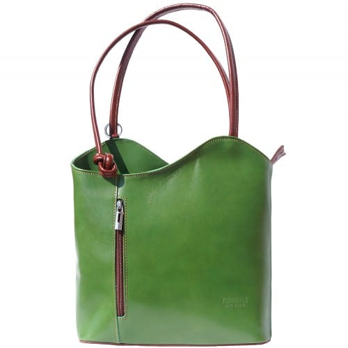 Convertible backpack and shoulder bag in genuine leather Silvia Colour Dark Green Brown for women