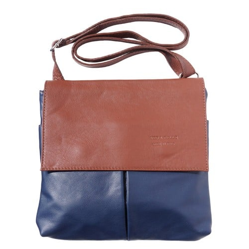 Shoulder bag in genuine leather with front pockets Lorenzo Colour dark blue brown photo for men