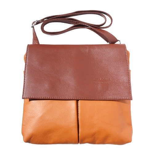 Shoulder bag in genuine leather with front pockets Lorenzo Colour tan brown photo for men