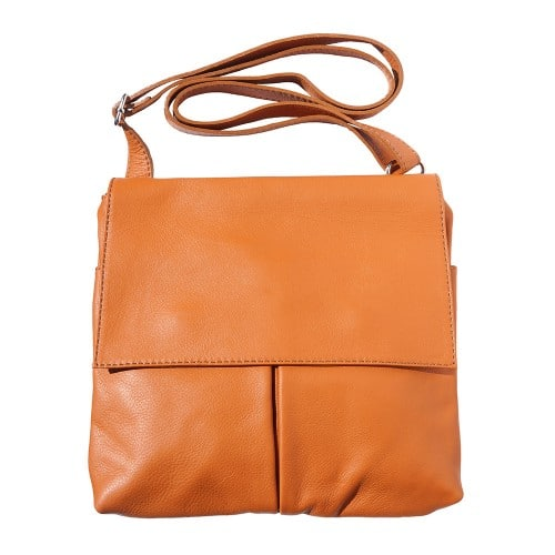Shoulder bag in genuine leather with front pockets Lorenzo Colour tan photo for men