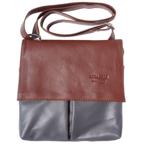 Shoulder bag in genuine leather with front pockets Lorenzo Colour Grey Brown for men