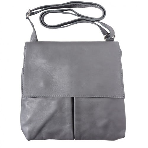 Shoulder bag in genuine leather with front pockets Lorenzo Colour dark grey for men