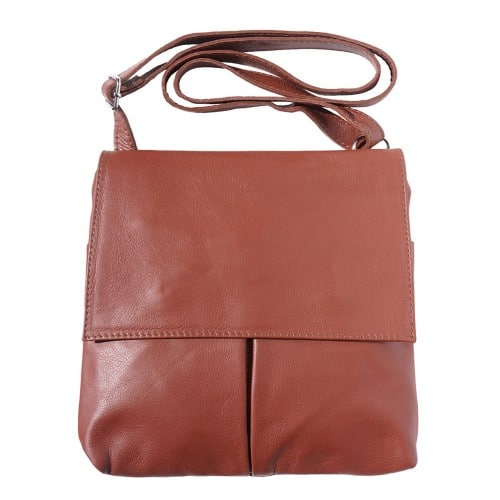 Shoulder bag in genuine leather with front pockets Lorenzo Colour brown for men