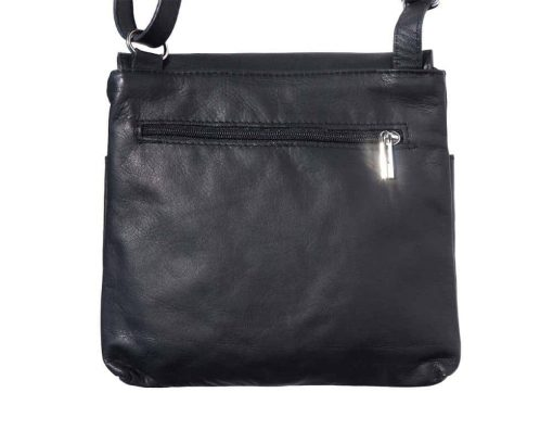 black cross body bag in genuine leather Nastasia unisex