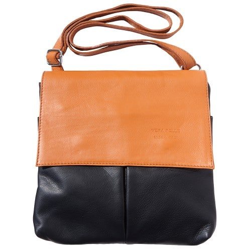 Shoulder bag in genuine leather with front pockets Lorenzo Colour black tan for men