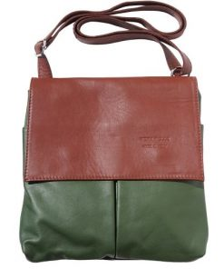 Shoulder bag in genuine leather with front pockets Lorenzo Colour dark green brown for men