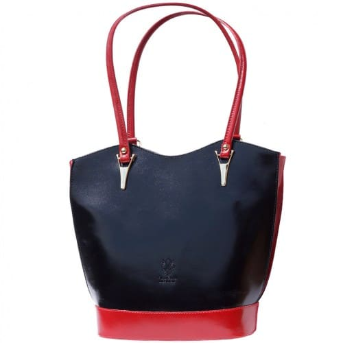 Convertible backpack in shoulder bag Ginevra colour black red photo for women