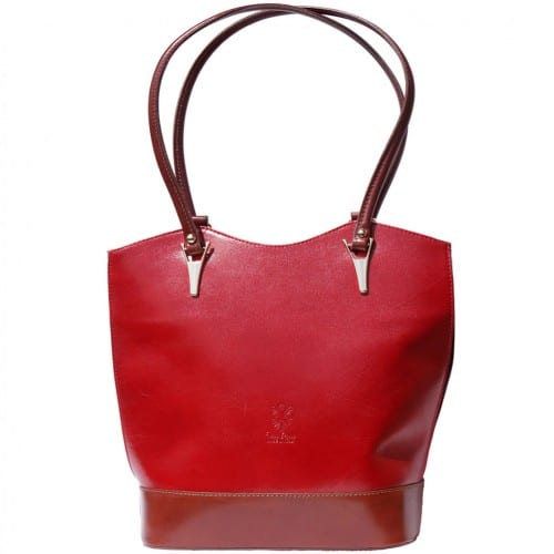 Convertible backpack in shoulder bag Ginevra colour dark red brown for women