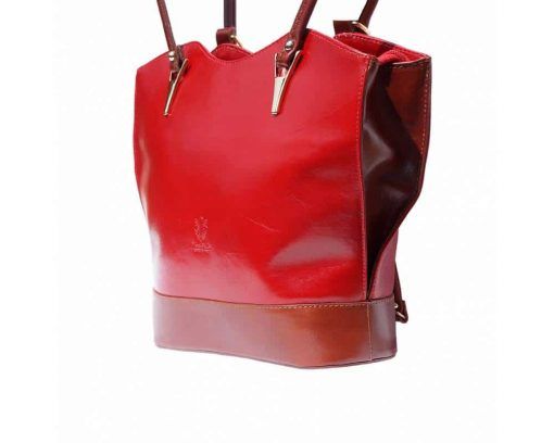 dark red brown backpack bag in genuine leather Naatje for women