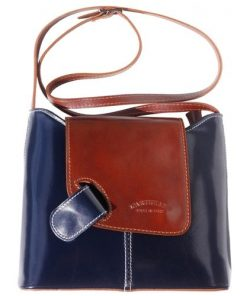 cross body ag Vissia in genuine rigid leather colour dark blue brown for women