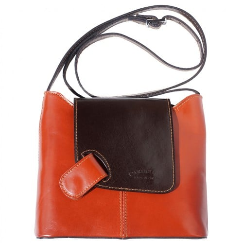 cross body ag Vissia in genuine rigid leather colour tan dark brown for women