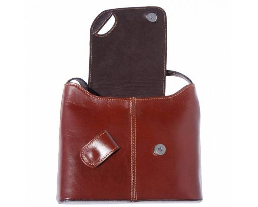 brown dark brown cross body bag in genuine leather Vasilica for women