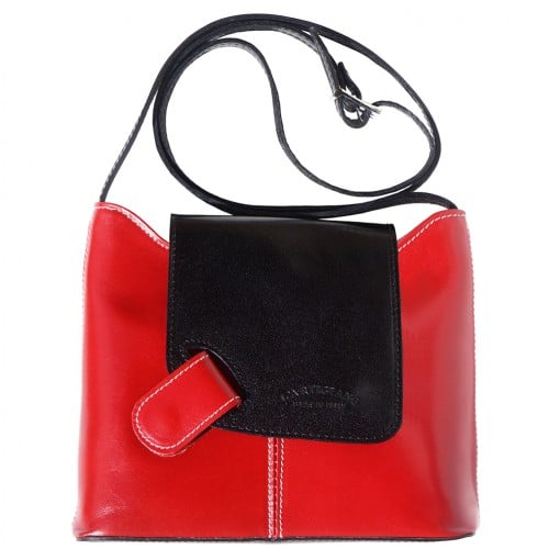 cross body ag Vissia in genuine rigid leather colour red black for women
