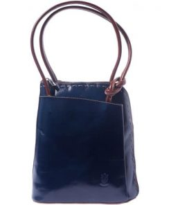 Backpack-shoulder bag in genuine leather Franca colour dark blue brown for women