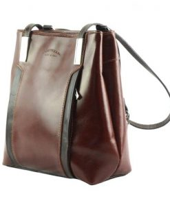 Shoulder bag backpack in genuine leather Alice colour brown black for women