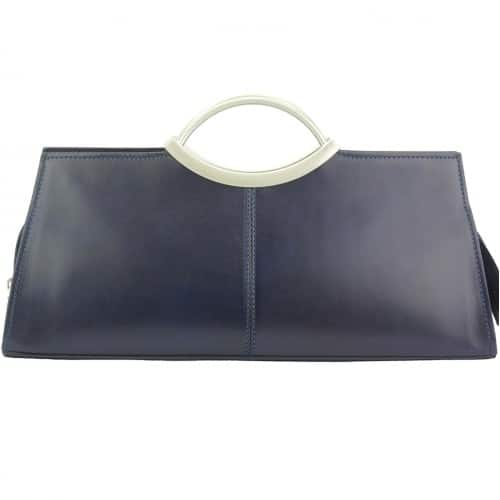 Handbag Evelina with double handle from genuine leather Colour dark blue for women