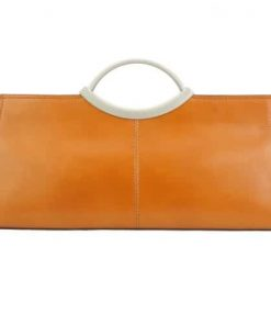 Handbag Evelina with double handle from genuine leather Colour tan for women
