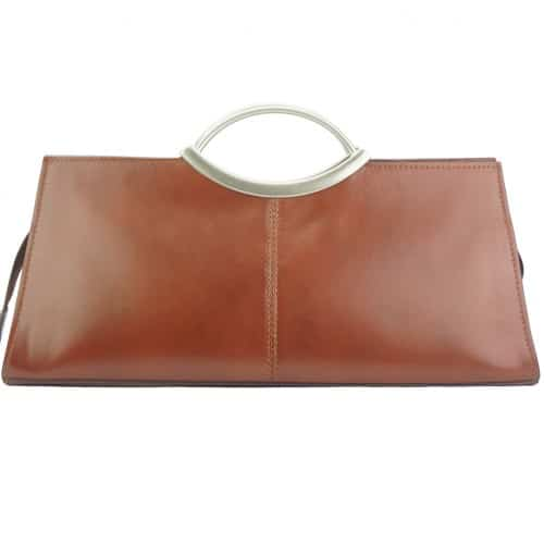 Handbag Evelina with double handle from genuine leather Colour brown for women
