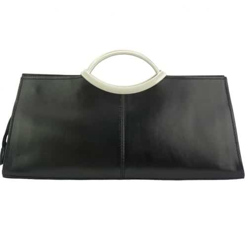 Handbag Evelina with double handle from genuine leather Colour black for women