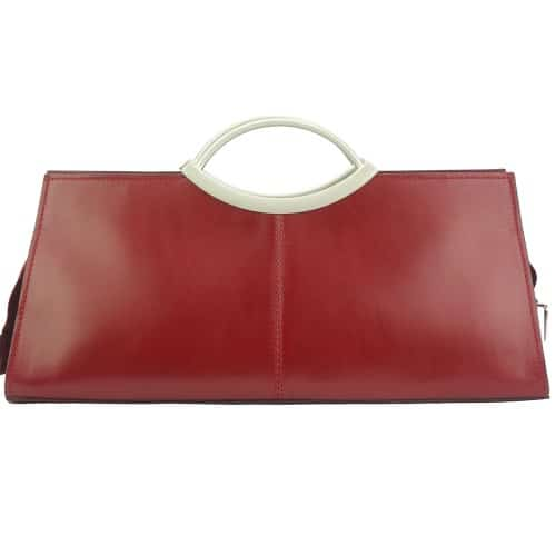 Handbag Evelina with double handle from genuine leather Colour Dark red for women