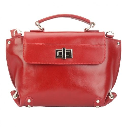 red tote bag in genuine leather Annika woman