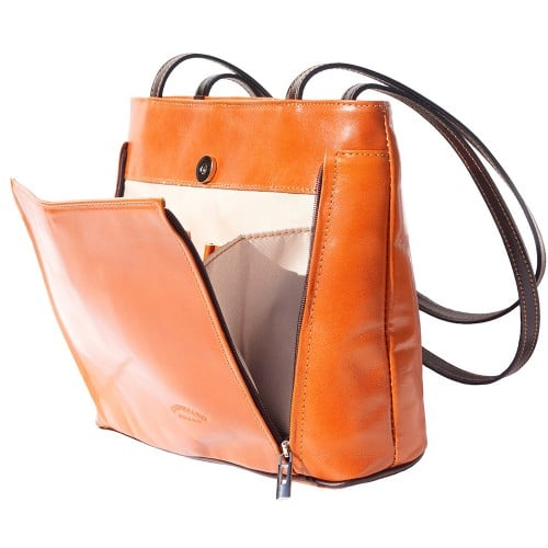 Bag Takara with double leather handle in genuine leather Colour tan dark brown for women