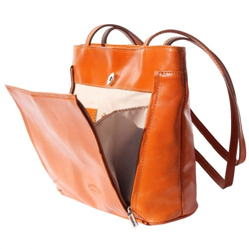Bag Takara with double leather handle in genuine leather Colour tan photo